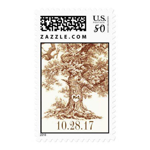 old oak tree rustic wedding postage stamps   Zazzle com