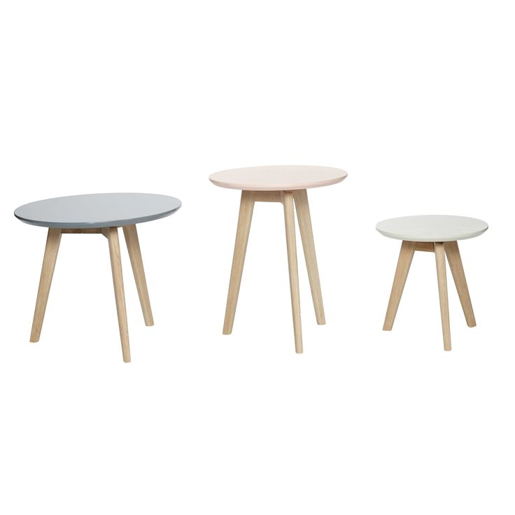 Round oak tables in grey, green and rose. Product number: 880116 - Designed by Hübsch