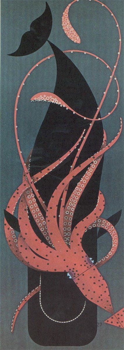 Squid whale print | Squid and Whale by Charley Harper