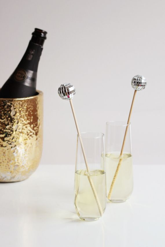 DIY Disco Ball Drink Stirrers add some glam to your champers