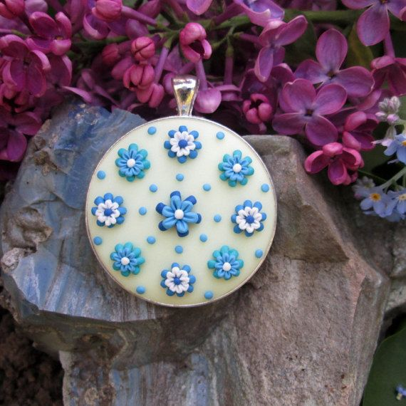 turquoise statement necklace floral christmas gift for mom fashion style boho vintage gifts by FloralFantasyDreams on Etsy