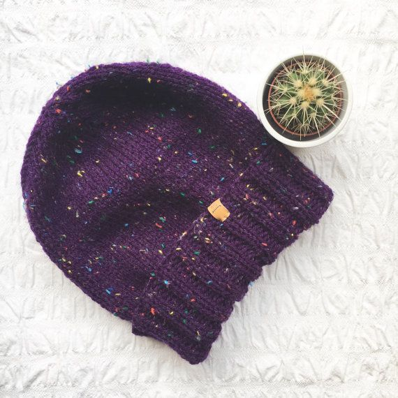 UNISEX Junkbox purple fleck beanie slouchy by JunkboxCouture
