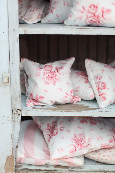 hand printed linen pillow cases from 'cabbages and roses' London