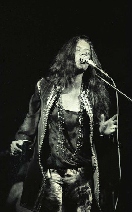 Janis Joplin performing at Woodstock Music Festival
