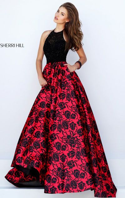 2016 Black/Red Floral Appliques Halter-Neck Sherri Hill 50245 Long Bodice Prom Dresses