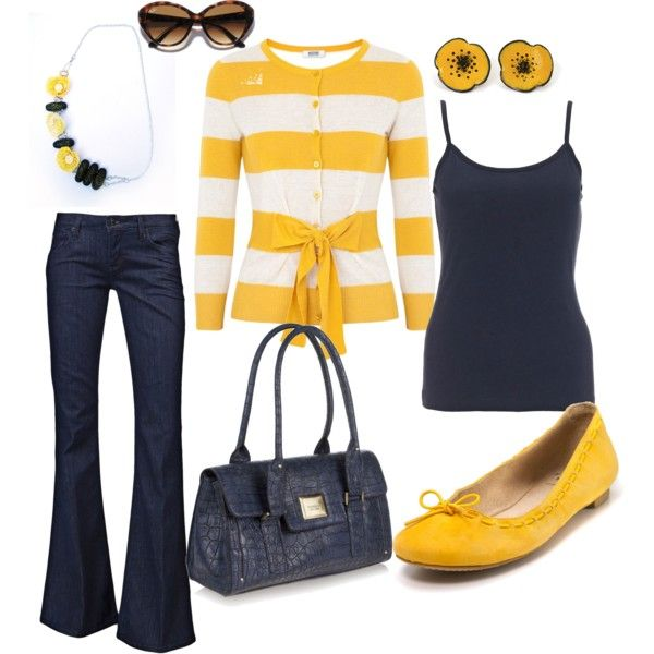 Navy and YellowNavy And Yellow Outfit, Fashion, Style, Clothing, Closets, Beautiful, Dresses, Cute Outfit, Accessories