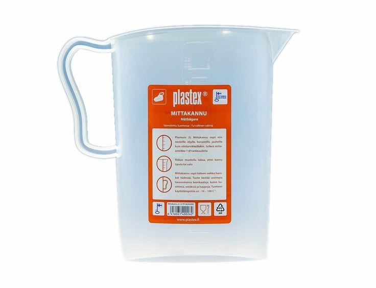 Kaada ilman tippoja! 2L mitta-asteikko on desin tarkkuudella, jolloin nesteiden sekoittaminen on helppoa. Valmistettu Suomessa.  2L of this measuring jug having very good grip.