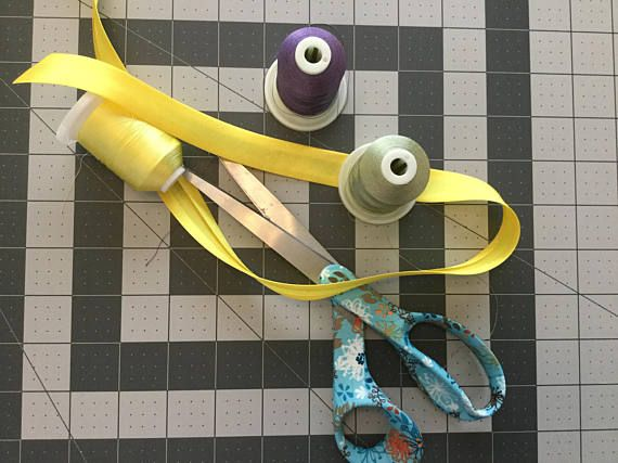 Yellow Polyester Satin Bias Binding single fold 3/4 inch