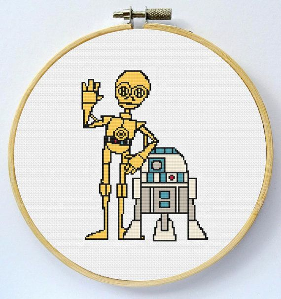 R2D2 & C3PO Cross Stitch Pattern available for instant download in PDF. When completed this pattern is 80 x 119 stitches. You will need 7 DMC