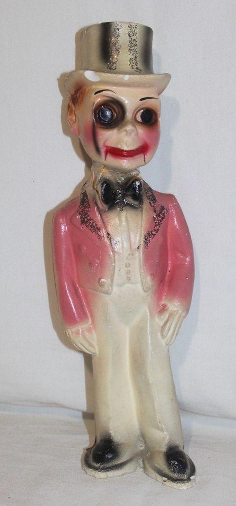 VINTAGE Chalkware Plaster CHARLIE MCCARTHY FIGURINE Hand Painted Repaired