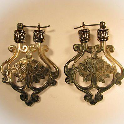 Lotus Earrings (Dark Shell) Liquid Fire Mantra - http://www.liquidfiremantra.com/