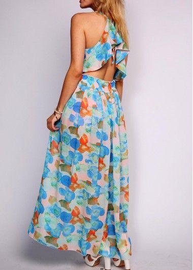 Floral Print Spaghetti Strap Split Back Maxi Dress