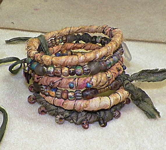 Fire Light.....Artisan Sari Silk And Striped Picasso Bead, Primitive, Earthy, Trade Bead Stacked Bangle  Bracelet