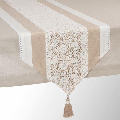 Beige katoenen tafelloper L 150 cm WONDERFUL