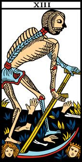 13. A MORTE http://www.clubedotaro.com.br/site/m32_13_sem_nome.asp  Luz = Conclusão (de uma fase, período, ciclo). Sombra = Redução (pessoas cortam, abandonam, mais do que o necessário).  Fim de uma fase. Abandono de velhos hábitos. Profundidade, penetração intelectual, pensar metafísico. Discernimento severo, sabedoria drástica. Resignação, estoicismo, dom para enfrentar situações difíceis. Indiferença, desapego, desilusão.