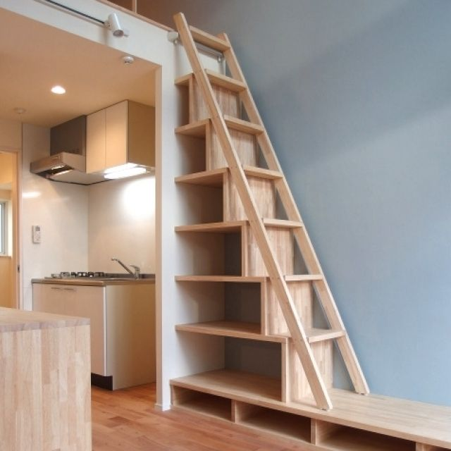 Interesting stairs and storage. Not to American code though.