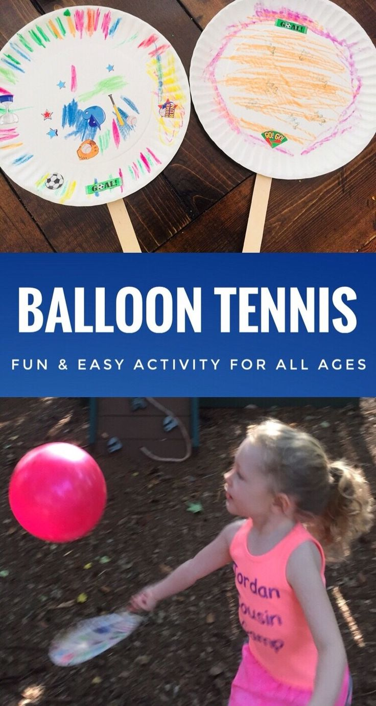 DIY Craft: Balloon Tennis is a fun and easy activity for all ages. It is a great party game for kids. You can even design the rackets around the party theme. Let the kids craft their own for a party craft as well. <a class=