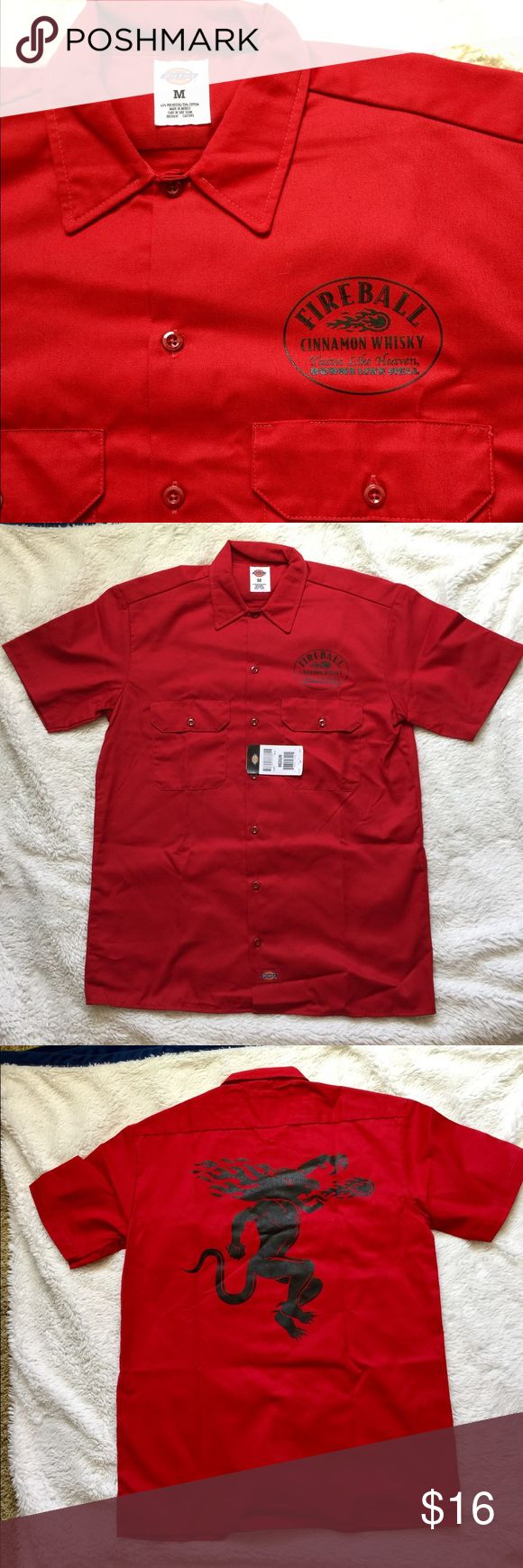 Fireball Whisky Dickies Mens Button Shirt NEW This is a brand new Fireball Red Dickies Mens Button Shirt with Fireball whisky logo on front and Fireball Whisky Dragon on back.  Shirt is new with tags. Size is medium. Dickies Shirts Casual Button Down Shirts