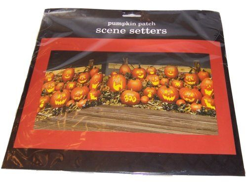 """Pumpkin Patch 65in Scene Setters 2ct by Factory Card and Party Outlet. $5.95. Everyone will love these two giant Pumpkin Patch Scene Setters, which, when placed on your walls, will decorate over 10 feet of space. Each pumpkin has a unique expression!Adheres easily to your wall with Ticky Tak or double-sided tape (not included). Package includes 2 scenes; each is 33.5"""" wide x 65"""" long."""