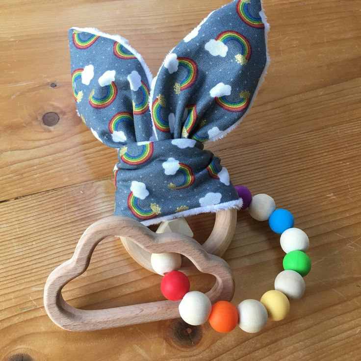 Baby Rainbow Wooden Silicone Teether Stripe Bunny Ear ...