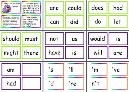 Literacy Resource - Contractions Cards Game, children match the starts to the endings to make contractions, how many can they make!