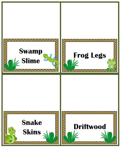 Not sure what type of swamp food to serve at your swamp party? We have plenty of fun & delicious ideas along with free printable food tent cards.