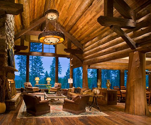 Log Great RoomMountain Retreat, Beautiful 3 3 3, Dreams House, Living Room, Cabin Fever, Rustic, Logs Room, Logs Home, Logs Cabin