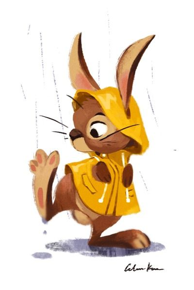 ʕ •́؈•̀ ₎ Raincoat Rabbit by Celine Kim. ʕ •́؈•̀ ₎