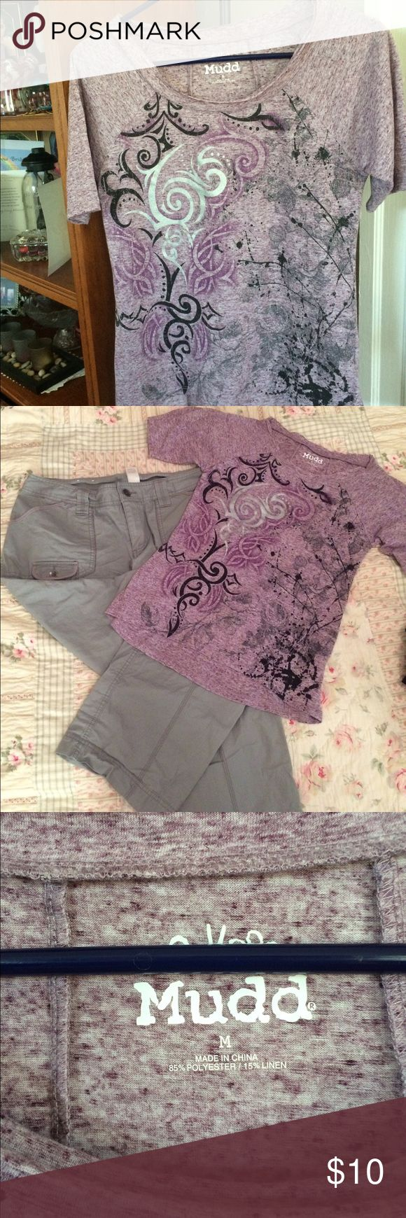 """💜 Wicked Cute Purple burnout t shirt💜 💜💜 Adorable EUC Size medium burnout t shirt with a really pretty swirly design. I paired it with the gray convertible cargo pants in my closet already( inseam is 30"""") and it's a perfect match ( or either pair of jeans in my closet) add some flats and you're ready to go or you could pair it with something you already have 💜💜 Mudd Tops Tees - Short Sleeve"""