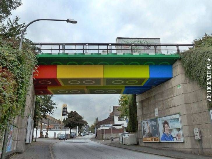 Lego bridge in Germany is a concrete beam bridge which crosses over the Schwesterstraße in the North Rhine-Westphalian city of Wuppertal, Germany. In 2011, graffiti and street artist Martin Heuwold repainted the bridge in the style of Lego bricks, receiving national and international media attention for his work.