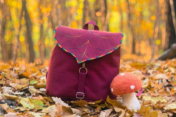 Burgundy Leaf Mini Backpack, Women's Rucksack, Boho Festival Backpack, Waterproof Hipster Backpack ,Toddler Backpack,Urban fashion accessory