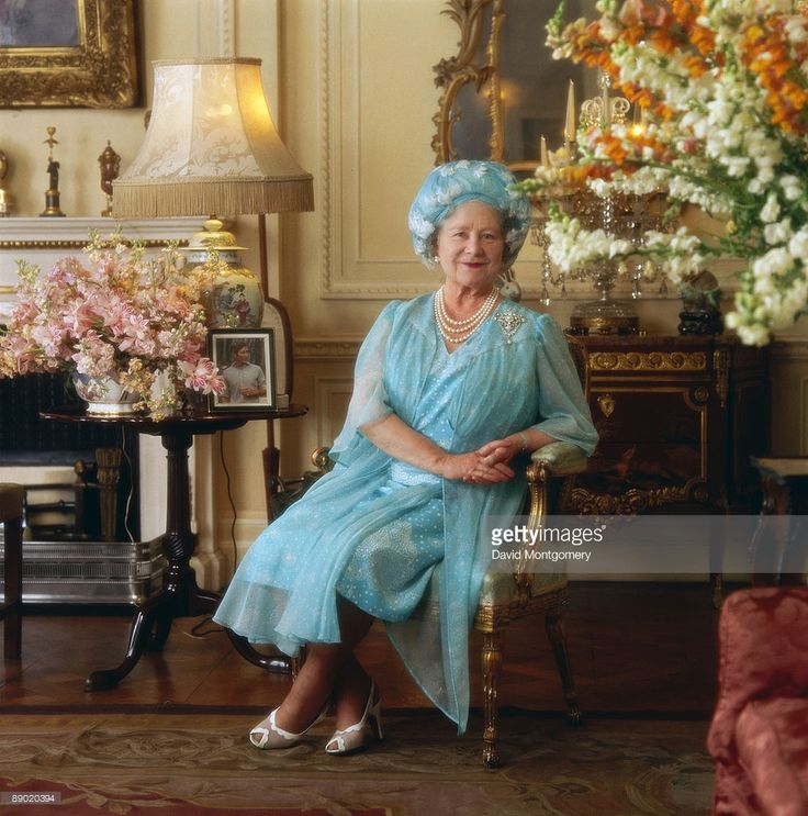 The Queen Mother (1900 - 2002), mother of Queen Elizabeth II, at Clarence House, her London home, circa 1990.