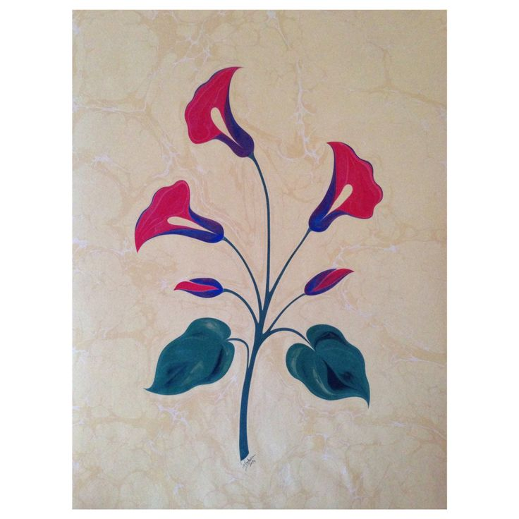 Gala çiçeği ebru: Firdevs Çalkanoğlu #ebru #ebrusanatı #marbling #flower #çiçek #kırmızı #art