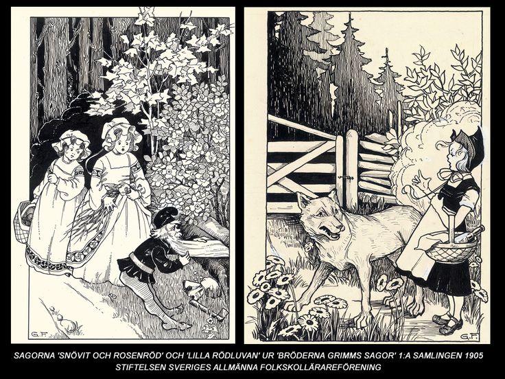 Gunhild Facks - Sagorna 'Snövit och Rosenröd' och 'Lilla rödluvan' ur 'Sagor Bröderna Grimms' -1905
