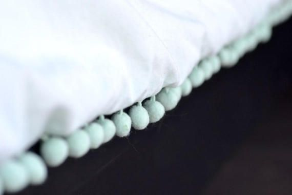 Solid White Duvet Cover with Pom Pom or Tassel Trim/ TWIN