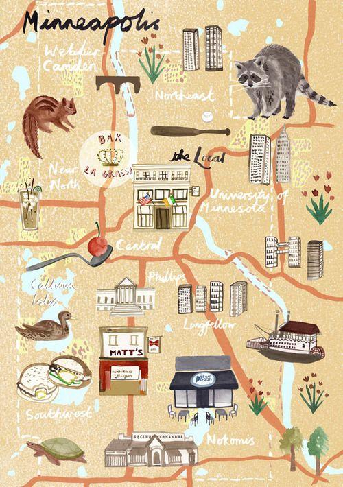 Livi Gosling - Map of Minneapolis for Virgin Australia