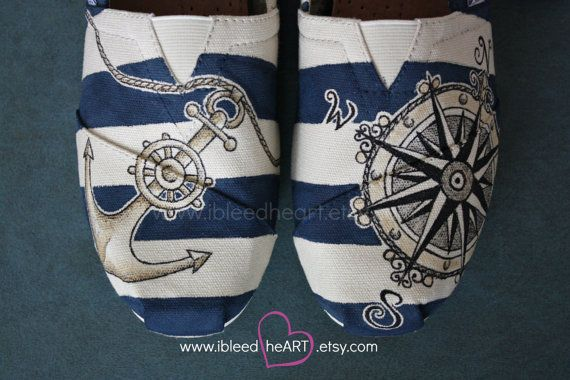 Adult Custom Painted TOMS Shoes - Nautical Travel Compass and Anchor in Gold. Cream and Navy stripes.