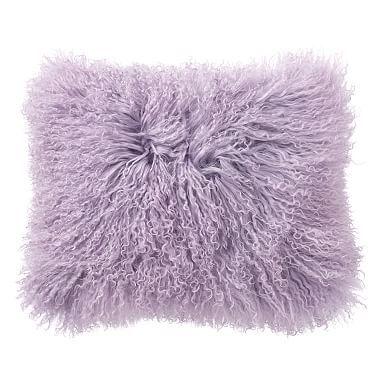 Mongolian Fur Pillow Cover, 12x16, Lavender