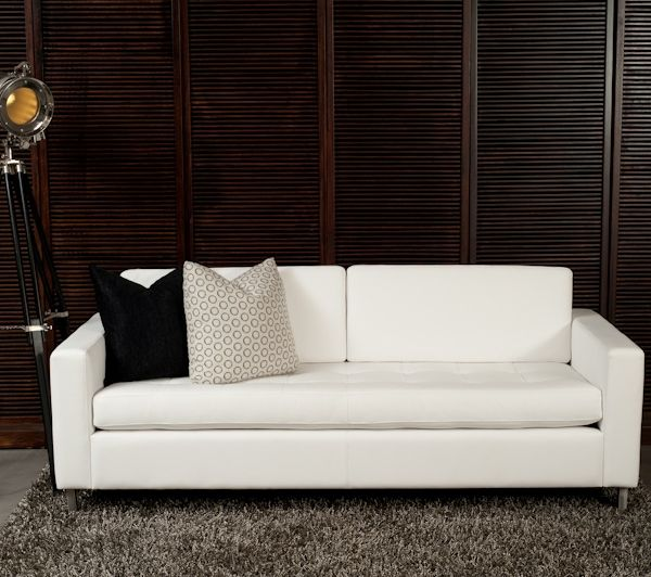 Bellemondo White Leather Sofa Bed. In white leather and with a quilted seat this is the architect's option. Suitable for the office foyer or for the modern apartment. www.sofastudio.com.au