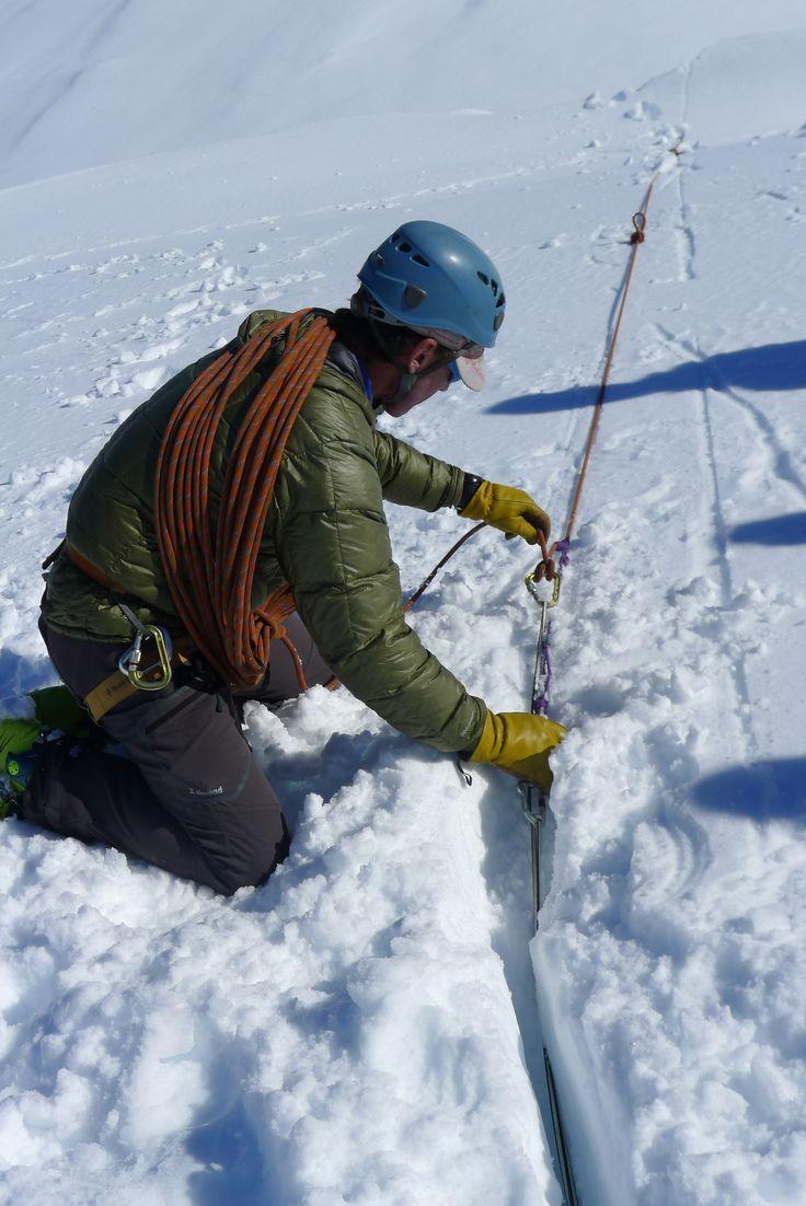 A glaciar course held at Cerro Tronador, Bariloche. Teaching how to rescue somebody out of a glacier crevasse.