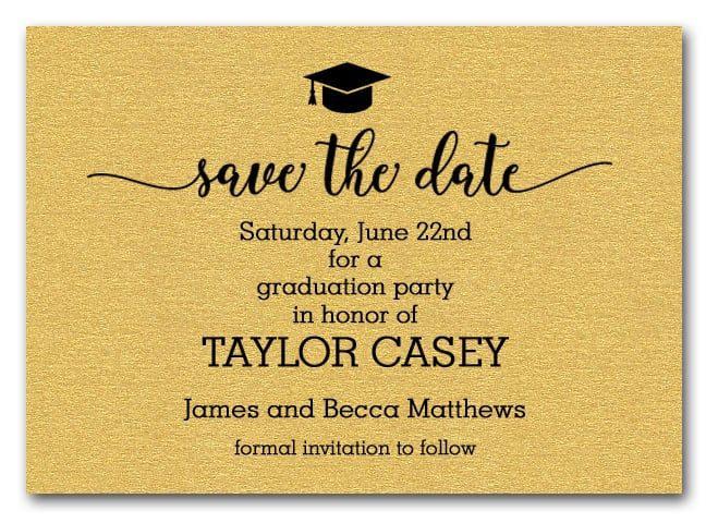 Grad Hat On Shimmery Gold Save The Date Cards Graduation Party Gifts Graduation Party Planning Grad Party Invitations