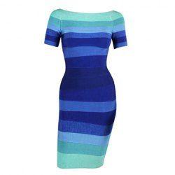 Stripe Color Block Noble Style Cotton Blend Short Sleeves Bandage Dress For Women