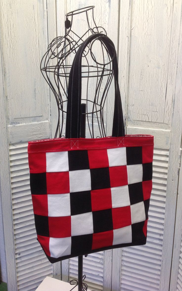 Bleu Redux Upcycle Denim Tote in Red, White & Black Checks (DB18) by GrandmaRietas on Etsy