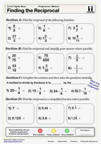 Fractions maths worksheet