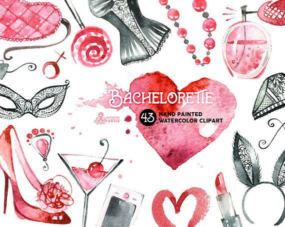 Bachelorette Watercolor: 43 handpainted Clipart, sexy, girl, hen party, lingerie, diy, kiss lips, fashion, invite, beauty, lipstick, perfume