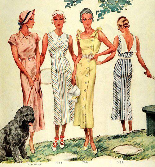 Летние платья часто шили с вырезами на спине. В моде были лёгкие ткани с цветочными узорами, в полоску. На одной из иллюстраций изображена девушка в белом летнем платье в разноцветную полоску и в белых туфельках, надетых на ярко красные носки.