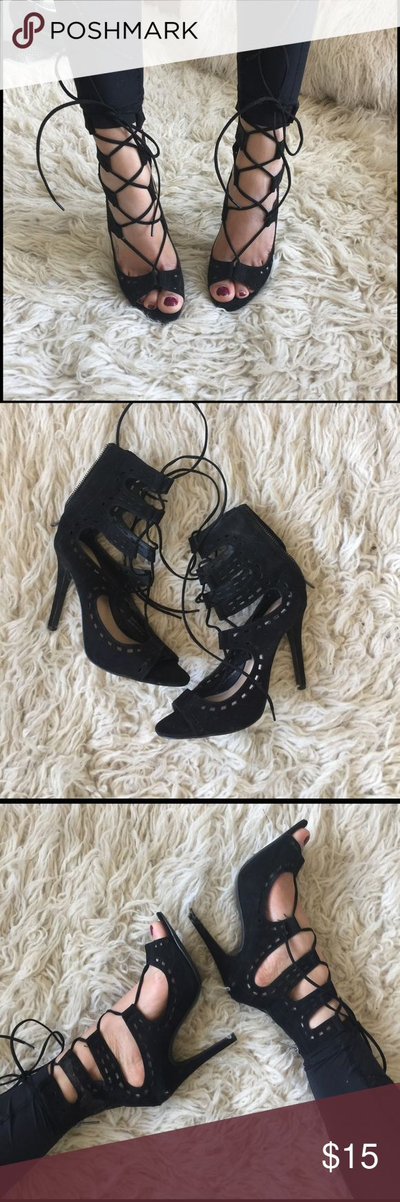 Black strappy lace ups! Size 8 From forever 21. Have too many similar shoes. Super comfortable. Have some stain in i could probably get it out before sending. Forever 21 Shoes Heels