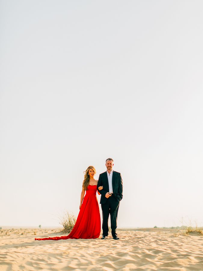Lady In Red A Stunning Pre Wedding Shoot At Bab Al Shams Http