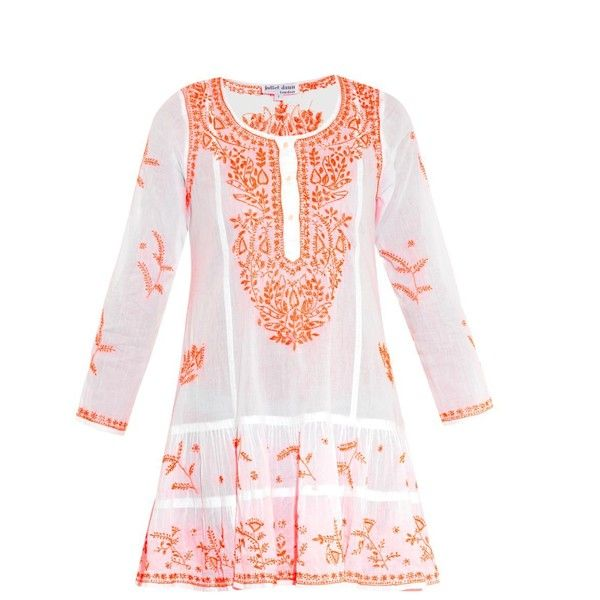 JULIET DUNN Embroidered cotton kaftan (435 CAD) ❤ liked on Polyvore featuring tops, tunics, dresses, coverups, orange multi, cotton slip, long sleeve cotton tunic, beach caftan, pink slip and pink top