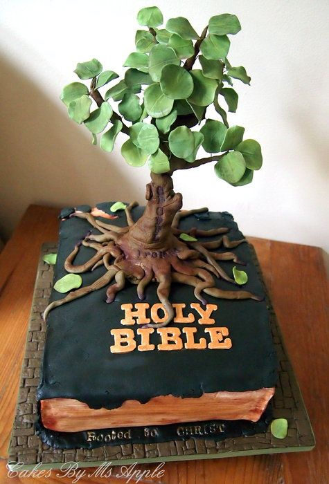 Bible Cake- Rooted to Christ - by Apple @ CakesDecor.com - cake decorating website